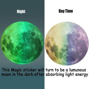 """Glowing Colored Moon Wall Decal 11.8"""""""